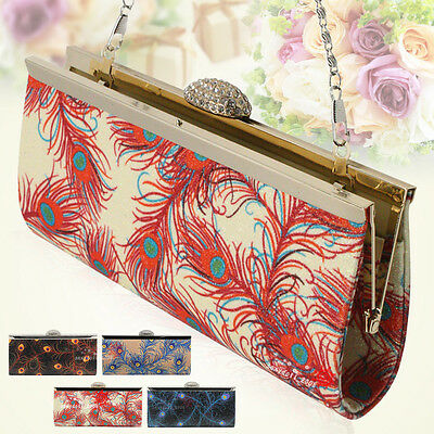 New Bags Clutch Sequins Peacock Feather With Chain Diamante Wedding  Party Bag