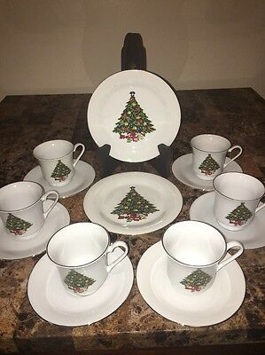 SEA GULL CHRISTMAS TREE 14 Pc Fine China Dinnerware Set Jian Shang