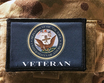 Navy Veteran Morale Patch Tactical Military Army Flag Hook Badge USA
