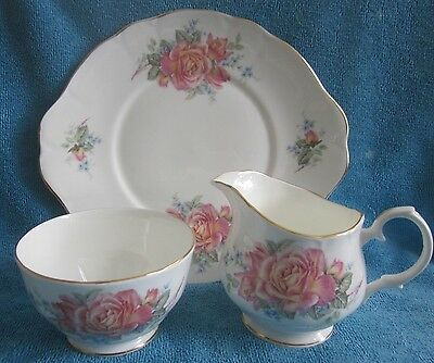 3 pc DUCHESS bone china TEA SET - cake plate, milk jug, sugar bowl PEACH ROSE