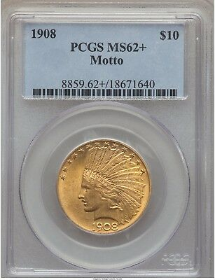 1908 $10 Indian Gold Eagle with Motto PCGS MS 62+