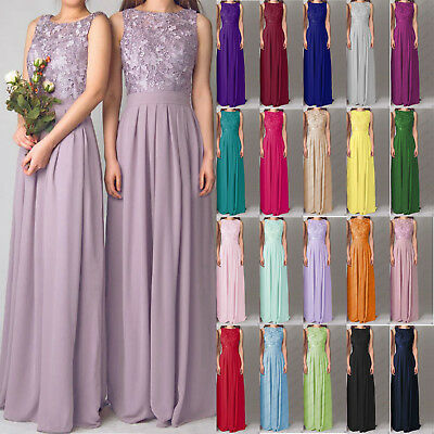 Lace/Long Formal Wedding Evening Ball Gown Party Prom Bridesmaid Dress Size 6-22