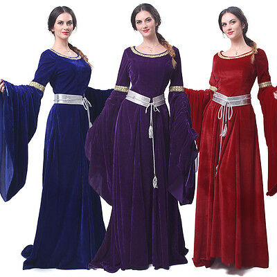 Women Velvet Medieval Renaissance Dress Celtic Queen Gown Larp Halloween Costume