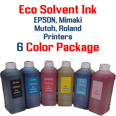 Eco solvent Ink 6 multi-color 1000ml each EPSON, Roland, Mimaki, Mutoh printers
