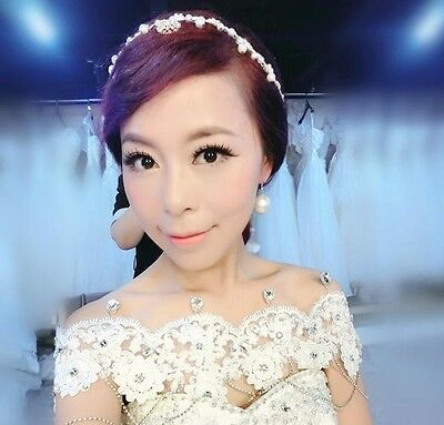 Wedding Bridal Lace Flower with Acrylic Diamonds Shoulder Wrap Chain Necklace