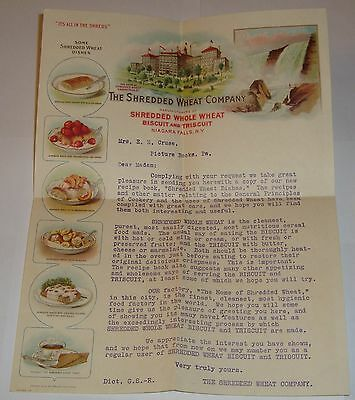 Vintage 1911 Shredded Wheat Co Letter Letterhead Picture Rocks, PA. Recipe Book