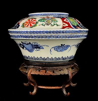 Authentic 1860s Japanese Antique Imperial Imari Tureen - Imperial Mon Crest COA
