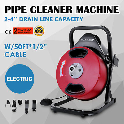 50FT*1/2'' Drain Auger Pipe Cleaner Cleaning Machine Equipment Electric Sewer