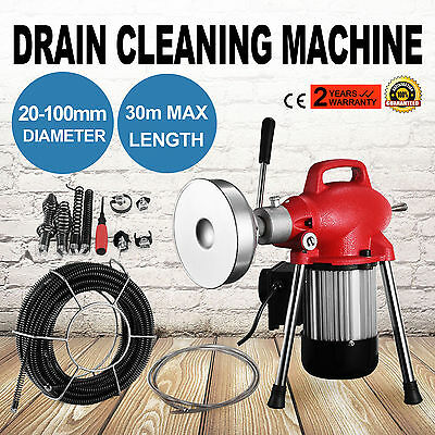"""3/4""""-4""""Dia Sectional Pipe Drain Cleaner Machine Heavy Duty W/Cable Cheap"""