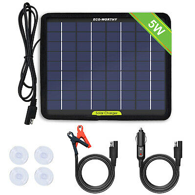 5W 12V Portable Solar Panel Power Battery Charger Backup Car Yacht Travel Boat