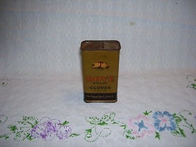 DOUBLE-DOVES-KISSING-Vintage-DOVE-BRAND-Cloves-2-oz-ALL-METAL-SPICE-TIN