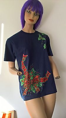Hand Painted and Applique Vintage 90s Ugly Xmas T Shirt size 14-16/L