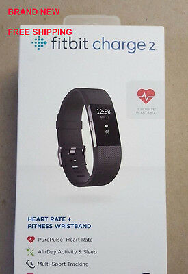NEW Fitbit Charge 2 Heart Rate Activity Tracker Sleep Fitness BLACK LARGE Size