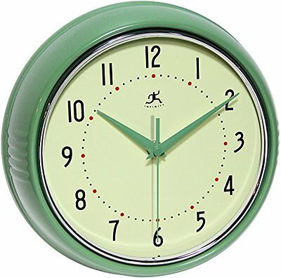 1950's Style Wall Clock Green Retro Kitchen Metal Round Vintage Clock