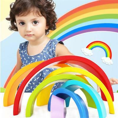 Wooden 7 Colour Stacking Rainbow Shape Kids Childrens Educational Toy Set - FI