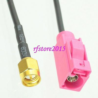 Cable RG174 6inch Fakra SMB H 4003 female to SMA male plug Pigtail Jumper