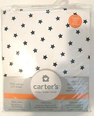 NEW Carter's Sateen Crib Sheet, Blue Star Print, One Size