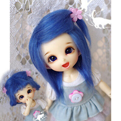 [wamami] 1/8 - 14 Cm Blue Medium And Long Wool Wig For Ae Pukifee Lati Bjd