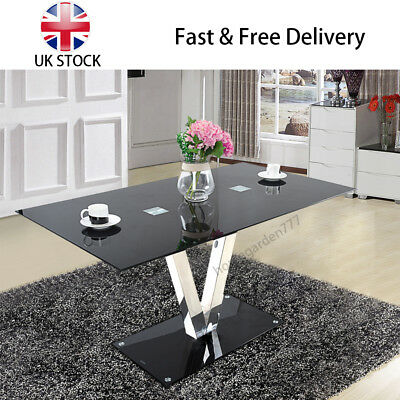 Panana High Metal and Glass 6 Seater Chairs Dining Table Only Kitchen Bistro UK