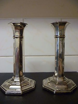 Antique Pair Of Octagonal Shaped Silver Plated Candle Sticks. Epns Candelabra