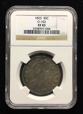 1825 Capped Bust Half Ngc Xf 45 Certified / Graded .50 Cent Piece .900 Silver