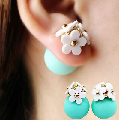 Flower Pearl Ball Stud Earrings Crystal Women Glass Double Sided Fashion Stud