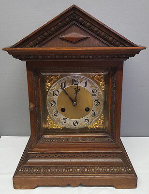 Vintage Wooden 8 Day Bracket Clock with Ting Tang Strike.