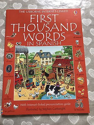 Usborne First 1000 Words In Spanish Kids Picture Dictionary 3yrs+