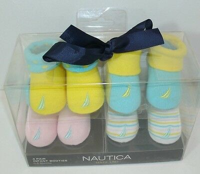 Nautica Infant  Booties Socks 0-6 Months 4 PR Blue Yellow Green Pink NIB GIFT