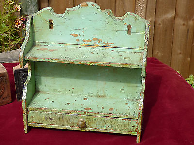 Antique Bijoux Painted Little Wall Shelf with Tiny Drawer Old Paint Distressed
