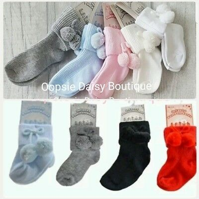 Baby Boys/Girls Lovely Spanish Romany Style Pom Pom Ankle Socks ☆