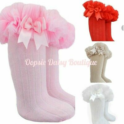 ☆ Baby Girls Gorgeous Knee High Frilly Tutu Spanish Style Socks Ribbon Bows ☆