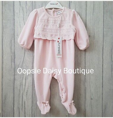 Baby Girls Stunning Pink Velour Traditional Style Smocked Romper Suit ☆