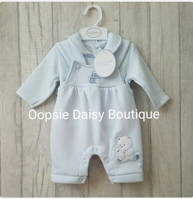 Baby Boys 2 Piece Blue Smocked ABC Dungaree Set ☆Jogger Style-Fleecy Lined☆