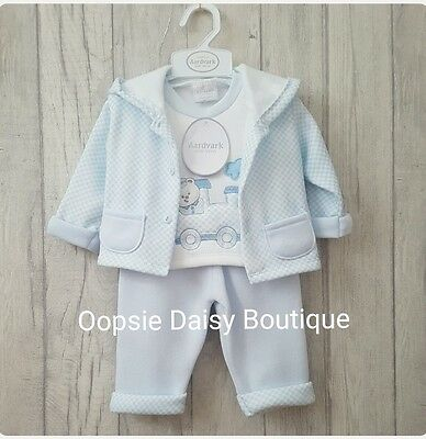 Baby Boys Lovely 3 Piece Choo Choo Train Outfit  ☆Jogger Style-Fleecy Lined☆