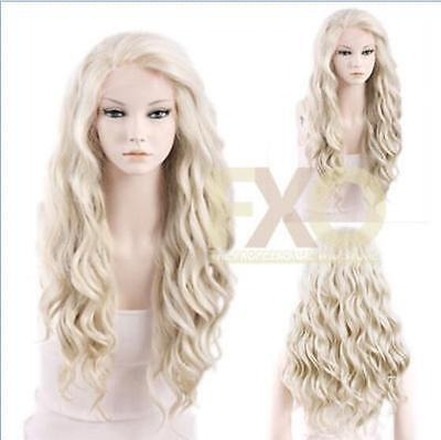 Long Curly Wavy Light Ash Blonde Heat Resistant Synthetic Front Wig