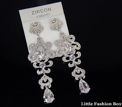 Superior Cut Cubic Zirconia Cluster Chandelier Wedding Prom Party Earring UK New