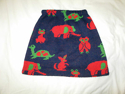 Unbranded Vintage Skirt With Animals 1970's Soft Sweater Fabric Unique