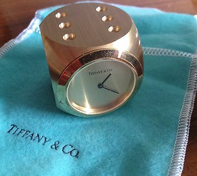 Gorgeous Tiffany And Co Brass Clock / Paperweight Dice