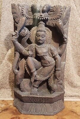 Antique Asian Indian Mid 19th Century Carved Temple Wood Panel Dancing Shiva