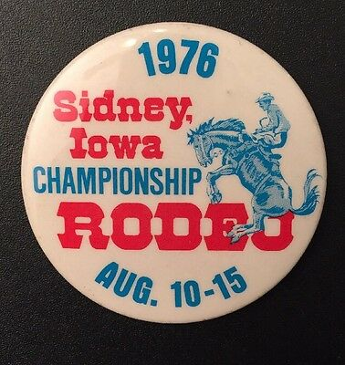 Rodeo Button Sidney Iowa Vintage 1976 Music Legend Pat Boone Performed
