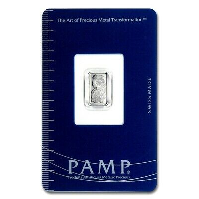 1 Gram Pamp Suisse .9995 Fine Platinum Lady Fortuna Bullion Bar Assay