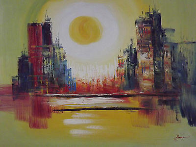 colorful abstract cityscape large oil painting canvas modern original new york