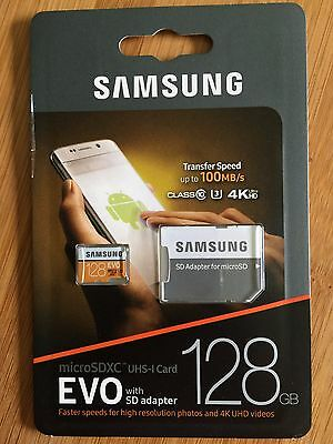 Samsung 128GB MicroSD 100MB/s U3 EVO UHD with SD card  Adapter NO RES FREE SHIP