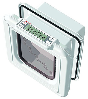 Cat Mate Elite Microchip Cat Flap with Timer Control - White LCD Display Panel