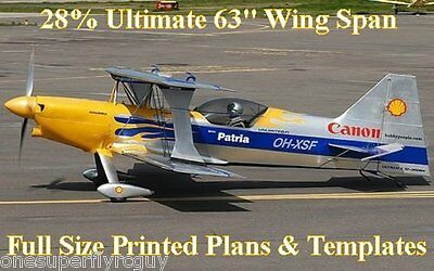 """Ultimate Biplane 63"""" WS 28% Giant Scale RC Airplane PRINTED Plans & Templates"""