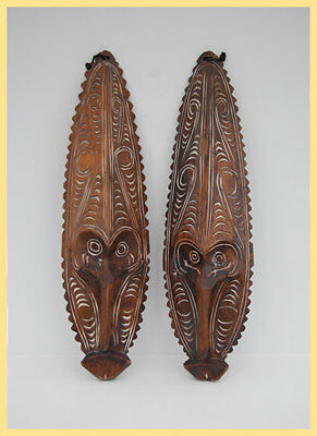 TWIN SEPIK MASKS - Two Oceanic New Guinean Sepik Masks, From Papua New Guinea IN