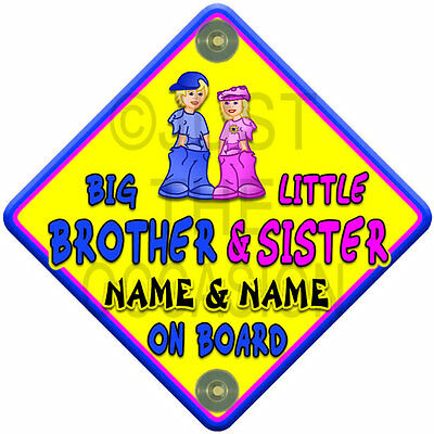 Yellow, Pink & Blue  SUN BIG BROTHER & LITTLE SISTER  Baby On Board Car Sign