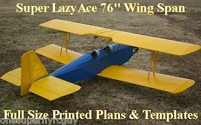 """Super Lazy Ace RC Airplane 96"""" WS Giant Scale Full Size PRINTED Plans & Template"""