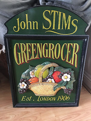 Vintage Hand Painted GREENGROCER SIGN JOHN STIMS LONDON 1906